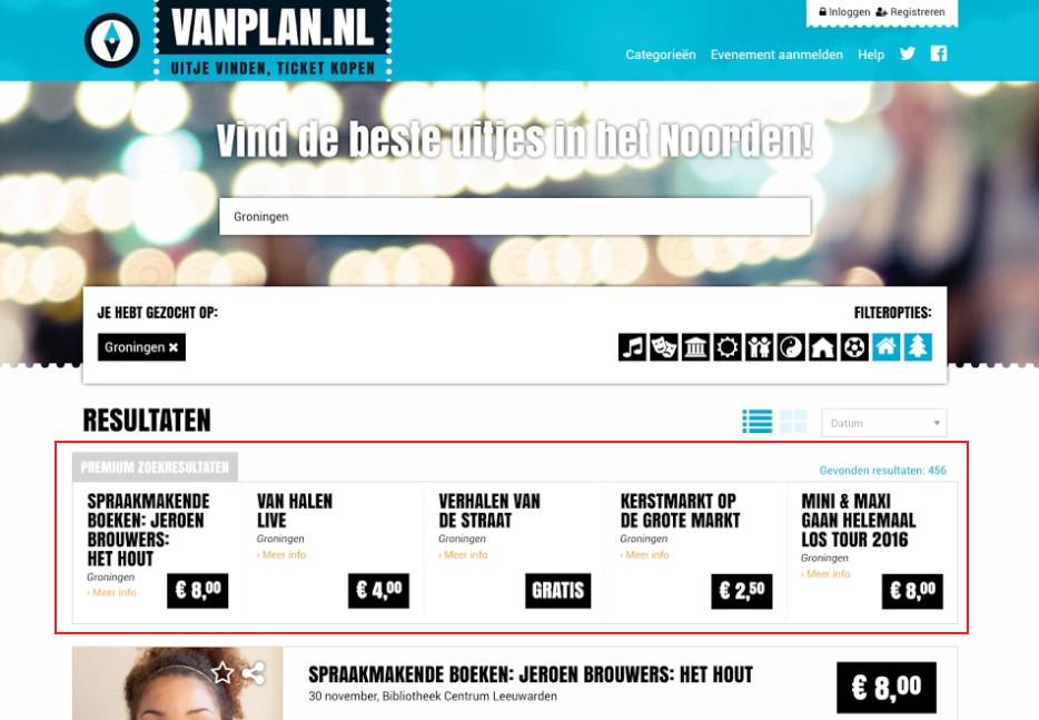 Premium zoekresultaten VanPlan.nl